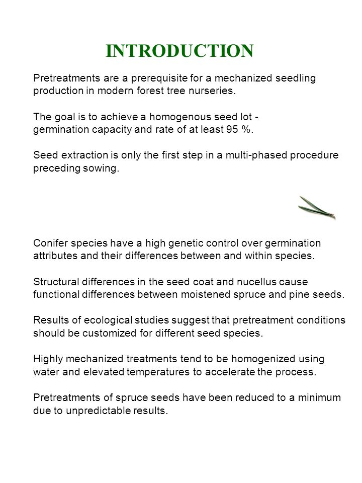 INTRODUCTION Pretreatments are a prerequisite for a mechanized seedling production in modern forest tree nurseries.