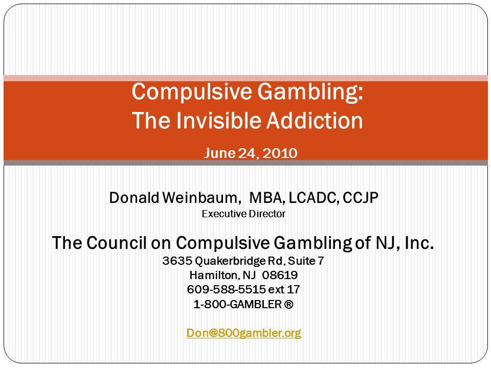 About CCGNJ The Statewide ADVOCATE for problem gamblers and their families.