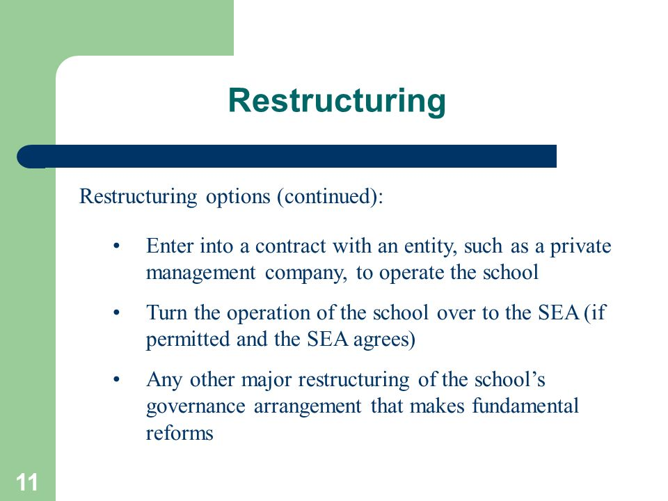 11 Restructuring Restructuring options (continued): Enter into a contract with an entity, such as a private management company, to operate the school