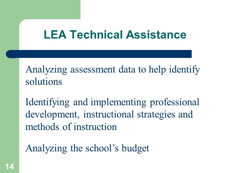 14 LEA Technical Assistance Analyzing assessment data to help identify solutions Identifying and implementing professional development, instructional