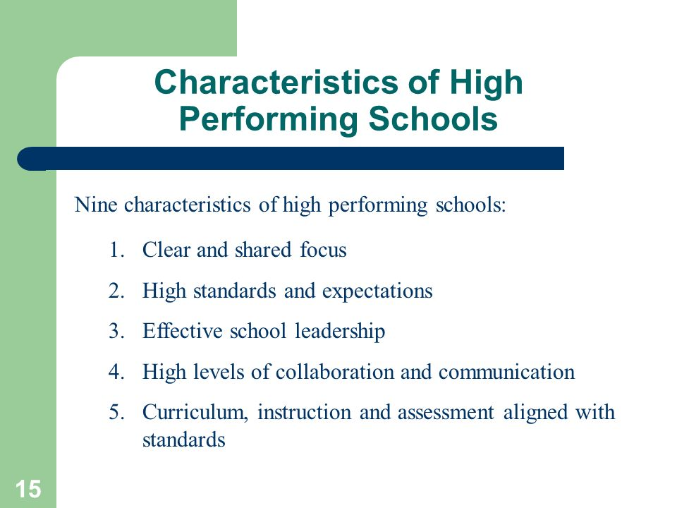 15 Characteristics of High Performing Schools 1.Clear and shared focus 2.High standards and expectations 3.Effective school leadership 4.High levels o