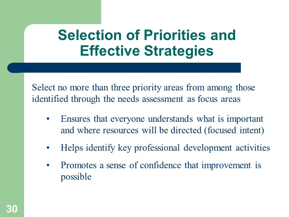 30 Selection of Priorities and Effective Strategies Select no more than three priority areas from among those identified through the needs assessment