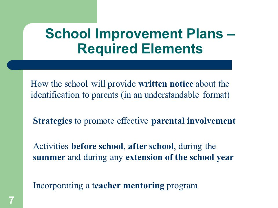 7 School Improvement Plans – Required Elements How the school will provide written notice about the identification to parents (in an understandable fo