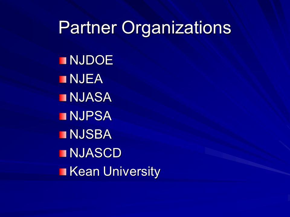 Partner Organizations NJDOENJEANJASANJPSANJSBANJASCD Kean University