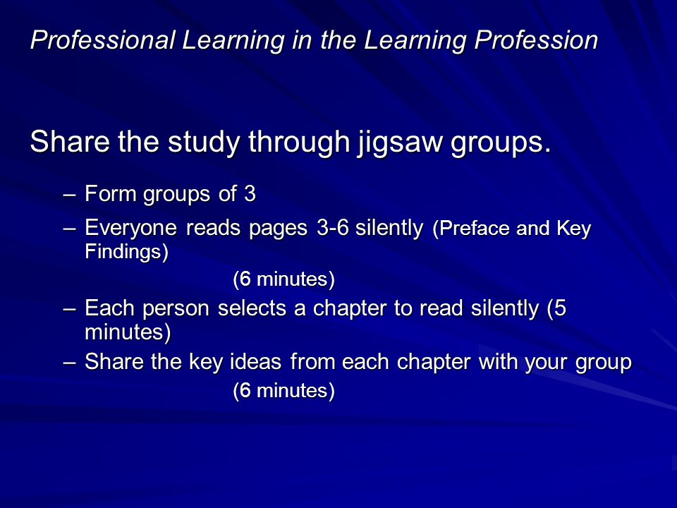 Professional Learning in the Learning Profession Share the study through jigsaw groups.