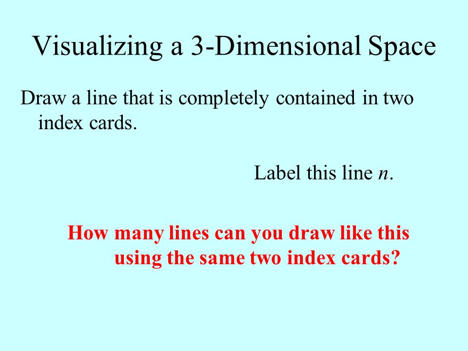 Visualizing a 3-Dimensional Space Draw a line that is completely contained in two index cards. Label this line n. How many lines can you draw like thi