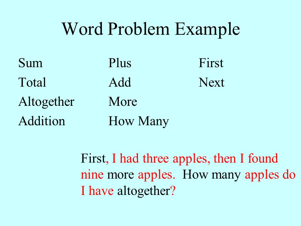 Word Problem Example SumPlusFirst TotalAddNext AltogetherMore AdditionHow Many First, I had three apples, then I found nine more apples. How many appl