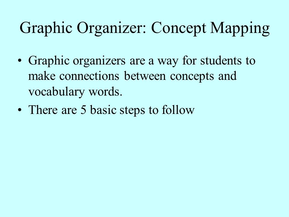 Graphic Organizer: Concept Mapping Graphic organizers are a way for students to make connections between concepts and vocabulary words. There are 5 ba