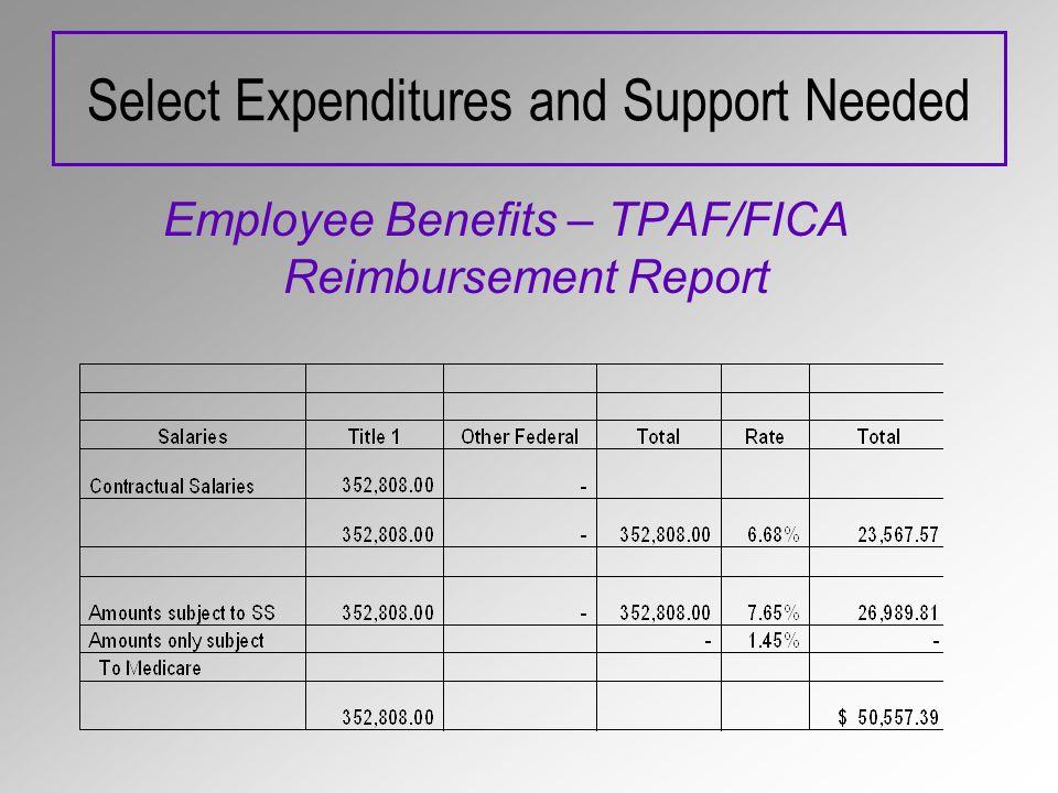 Select Expenditures and Support Needed Employee Benefits – TPAF/FICA Reimbursement Report