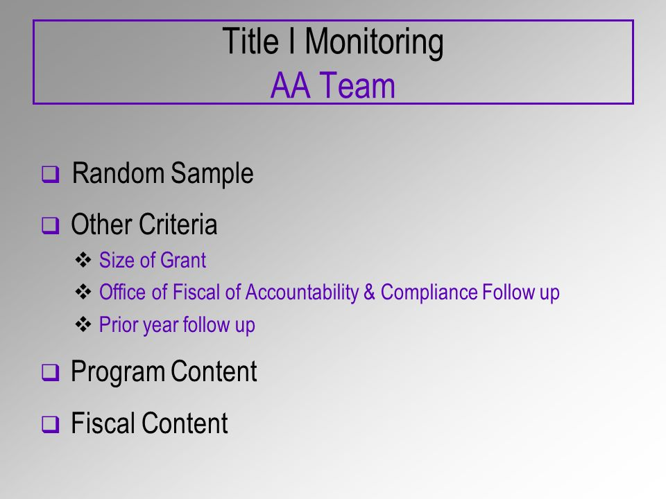 Title I Monitoring AA Team Random Sample Other Criteria Size of Grant Office of Fiscal of Accountability & Compliance Follow up Prior year follow up Program Content Fiscal Content