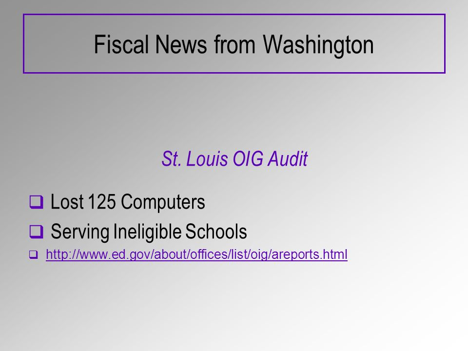 Fiscal News from Washington St.