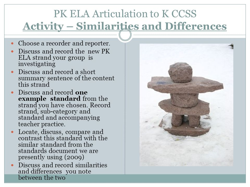 PK ELA Articulation to K CCSS Activity – Similarities and Differences Choose a recorder and reporter.