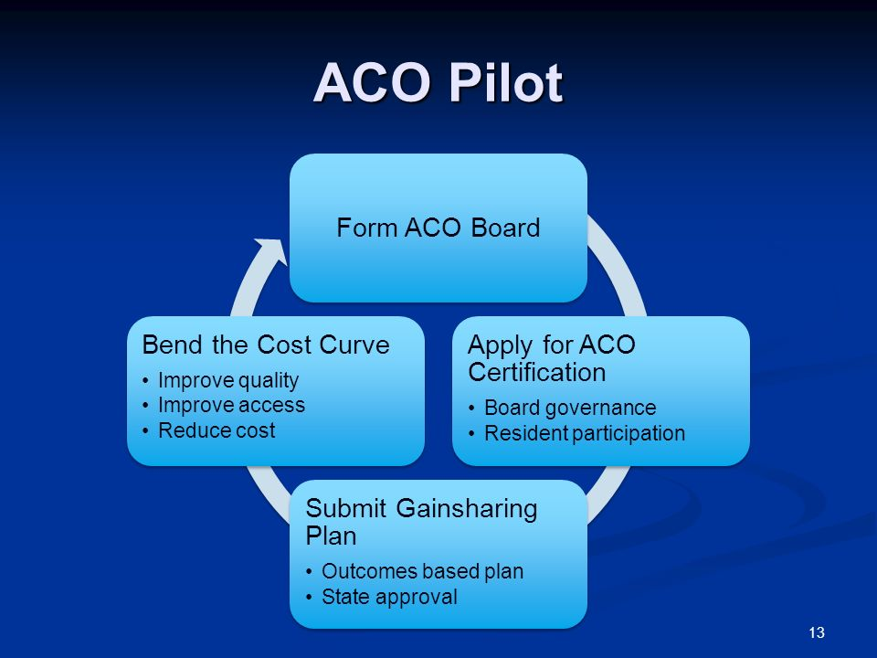 ACO Pilot Form ACO Board Apply for ACO Certification Board governance Resident participation Submit Gainsharing Plan Outcomes based plan State approval Bend the Cost Curve Improve quality Improve access Reduce cost 13