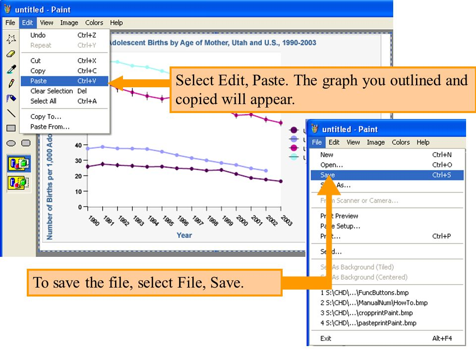 Select Edit, Paste. The graph you outlined and copied will appear.