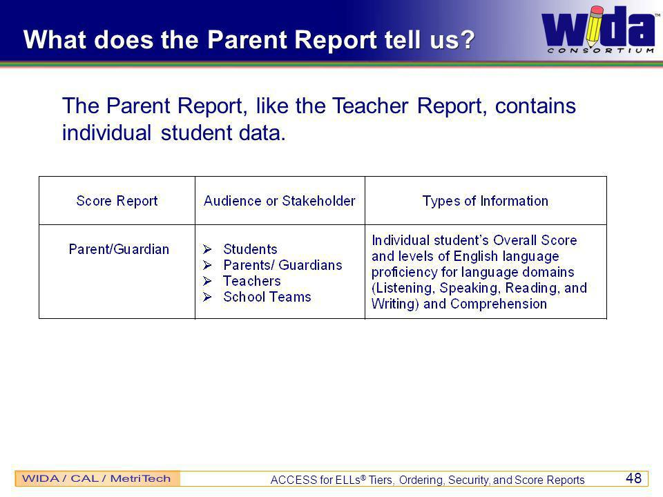 ACCESS for ELLs ® Tiers, Ordering, Security, and Score Reports 48 What does the Parent Report tell us.