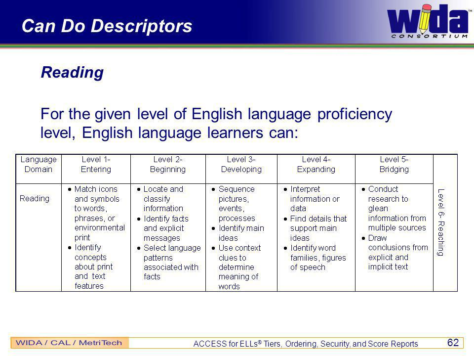 ACCESS for ELLs ® Tiers, Ordering, Security, and Score Reports 62 Can Do Descriptors Reading For the given level of English language proficiency level, English language learners can: