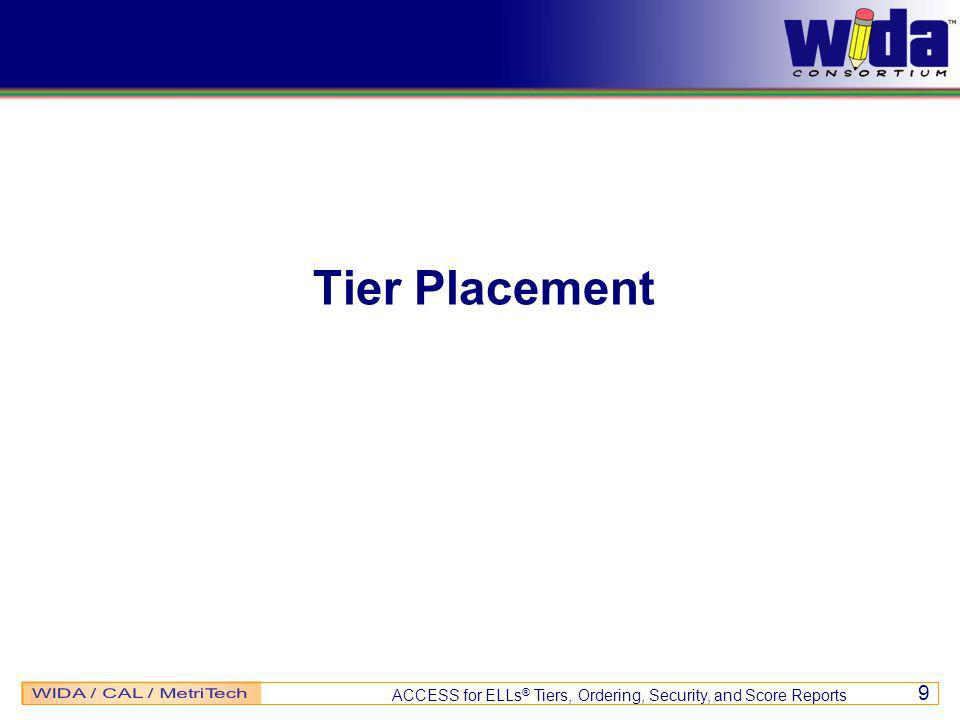 ACCESS for ELLs ® Tiers, Ordering, Security, and Score Reports 9 Tier Placement