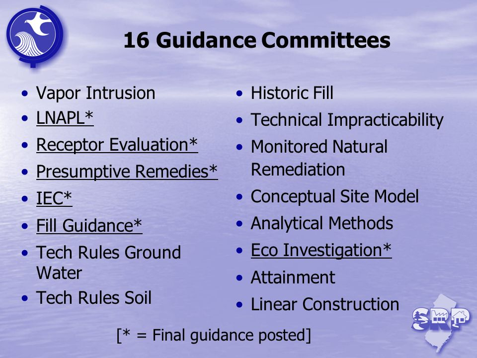 16 Guidance Committees Vapor Intrusion LNAPL* Receptor Evaluation* Presumptive Remedies* IEC* Fill Guidance* Tech Rules Ground Water Tech Rules Soil H