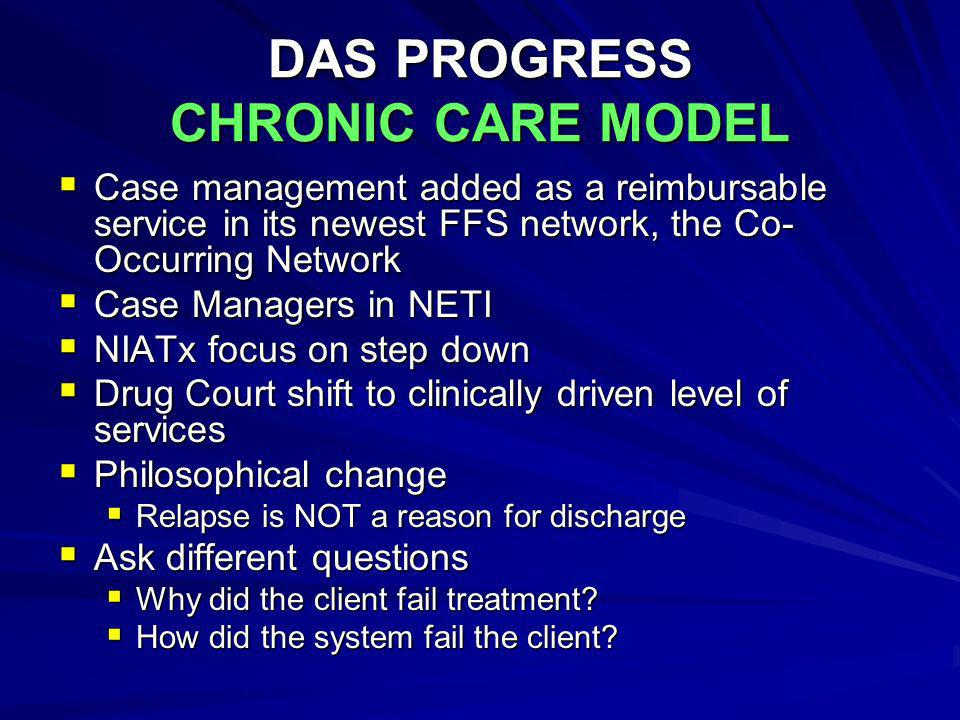 DAS PROGRESS CHRONIC CARE MODEL Case management added as a reimbursable service in its newest FFS network, the Co- Occurring Network Case management a