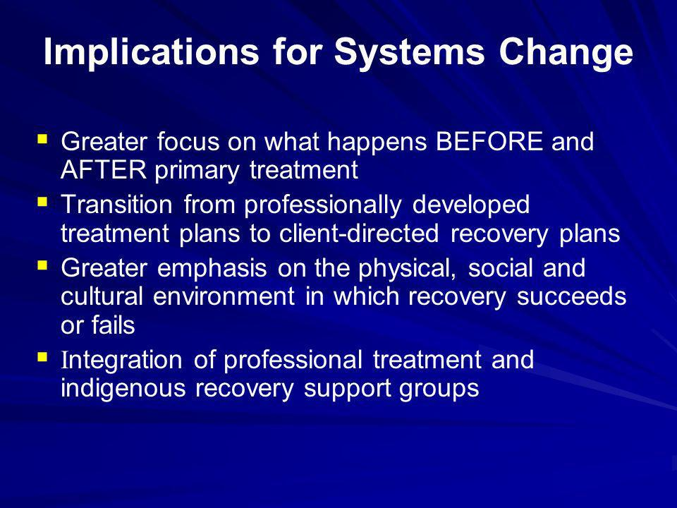 Implications for Systems Change Greater focus on what happens BEFORE and AFTER primary treatment Transition from professionally developed treatment pl