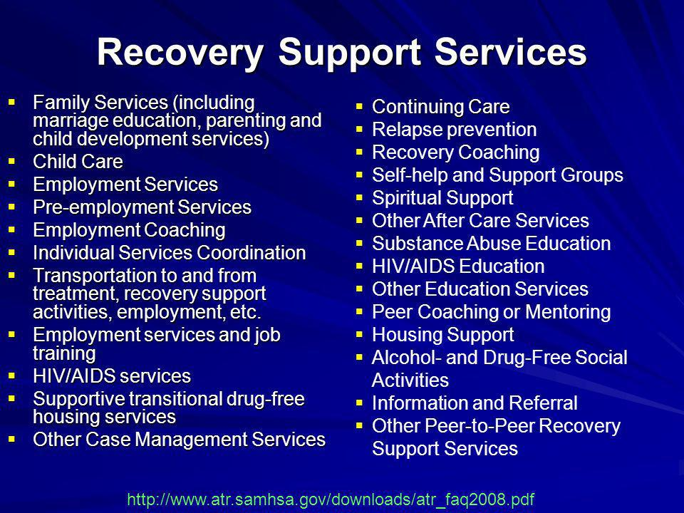 Recovery Support Services Family Services (including marriage education, parenting and child development services) Family Services (including marriage