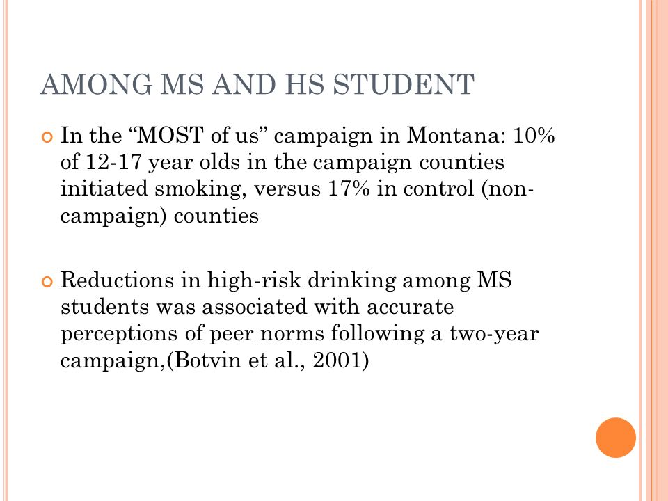 AMONG MS AND HS STUDENT In the MOST of us campaign in Montana: 10% of 12-17 year olds in the campaign counties initiated smoking, versus 17% in contro
