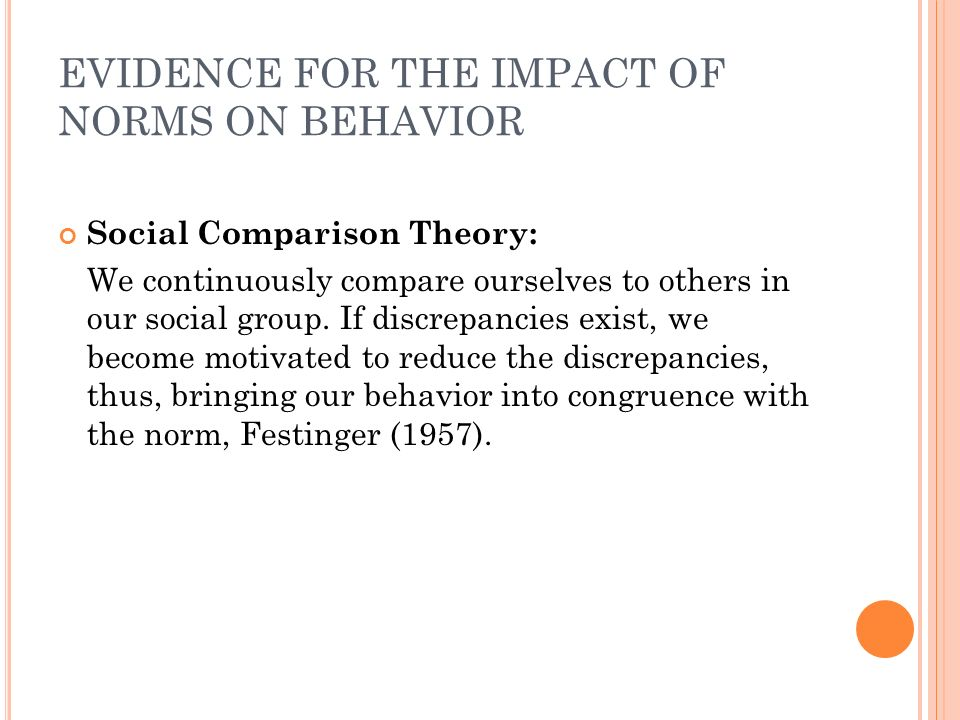 EVIDENCE FOR THE IMPACT OF NORMS ON BEHAVIOR Social Comparison Theory: We continuously compare ourselves to others in our social group. If discrepanci