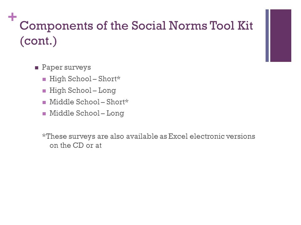 + Components of the Social Norms Tool Kit (cont.) Paper surveys High School – Short* High School – Long Middle School – Short* Middle School – Long *These surveys are also available as Excel electronic versions on the CD or at