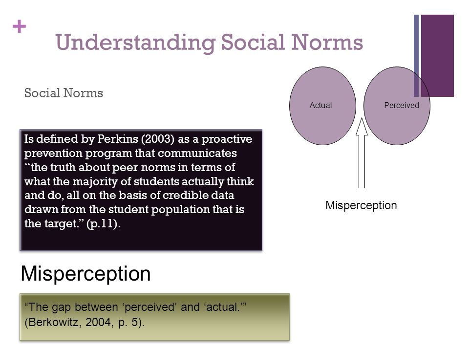 + Understanding Social Norms Social Norms Misperception The gap between perceived and actual. (Berkowitz, 2004, p. 5). Is defined by Perkins (2003) as