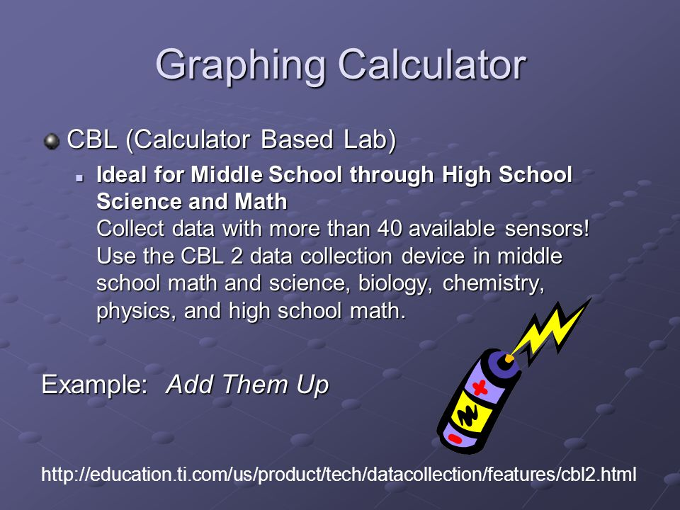 Graphing Calculator CBL (Calculator Based Lab) Ideal for Middle School through High School Science and Math Collect data with more than 40 available sensors.