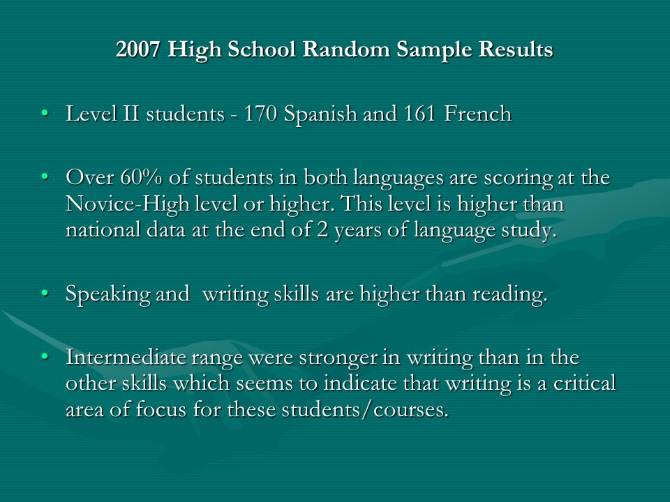 2007 High School Random Sample Results Level II students - 170 Spanish and 161 FrenchLevel II students - 170 Spanish and 161 French Over 60% of studen