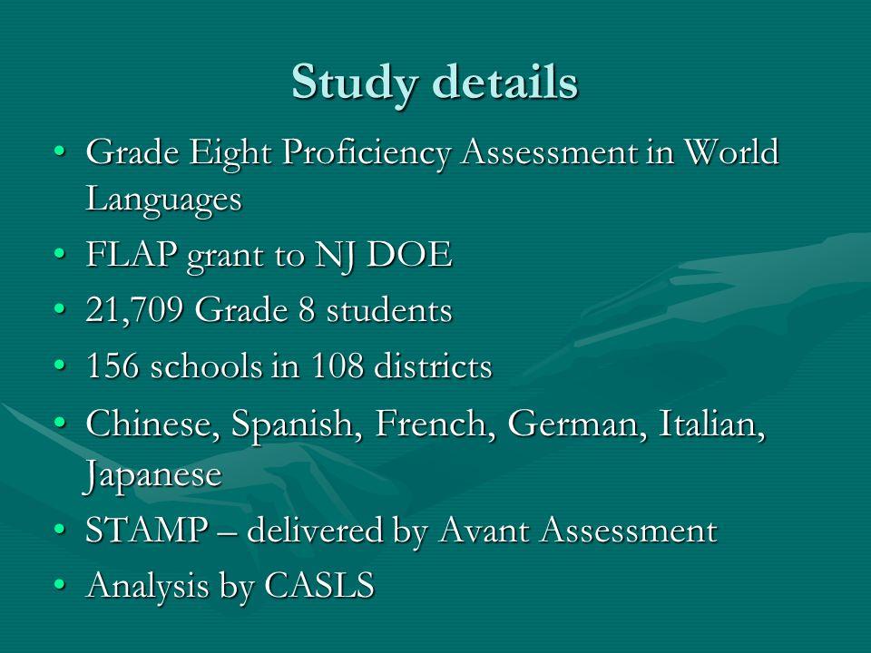 Study details Grade Eight Proficiency Assessment in World LanguagesGrade Eight Proficiency Assessment in World Languages FLAP grant to NJ DOEFLAP gran