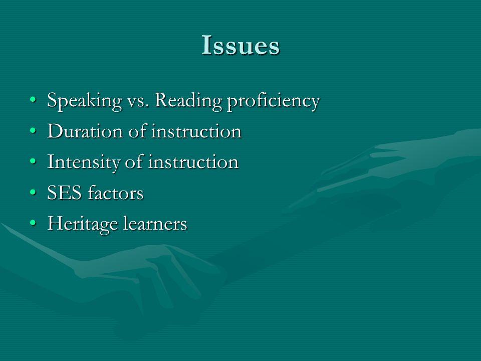 Issues Speaking vs. Reading proficiencySpeaking vs. Reading proficiency Duration of instructionDuration of instruction Intensity of instructionIntensi