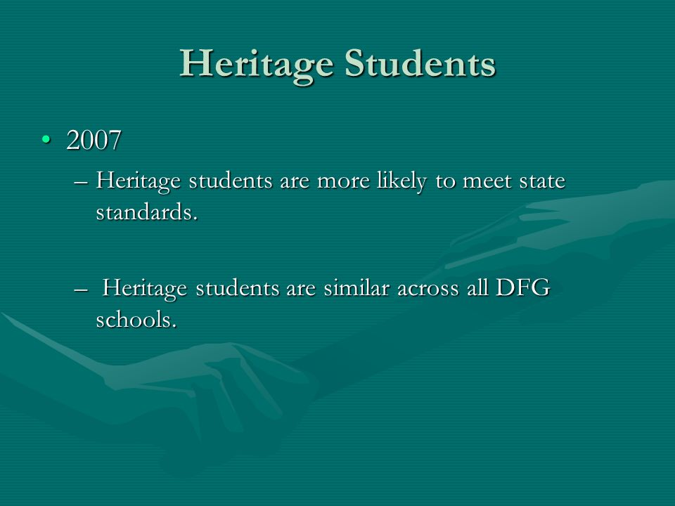 Heritage Students 20072007 –Heritage students are more likely to meet state standards. – Heritage students are similar across all DFG schools.