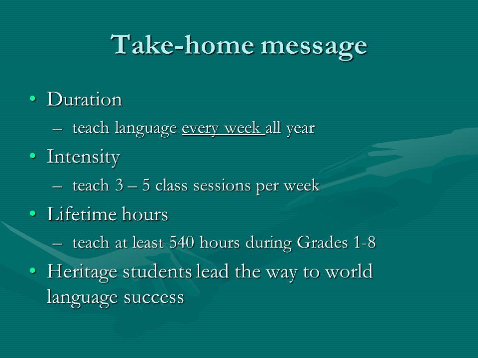 Take-home message DurationDuration – teach language every week all year IntensityIntensity – teach 3 – 5 class sessions per week Lifetime hoursLifetim