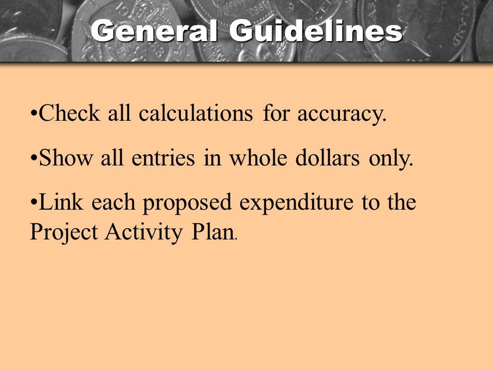 General Guidelines Check all calculations for accuracy.