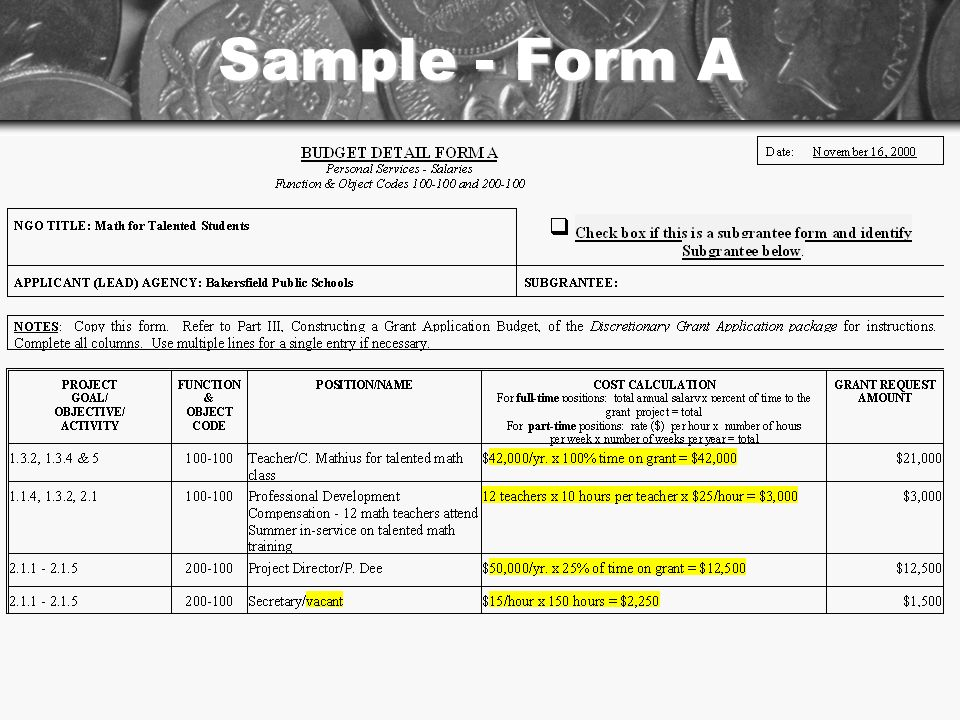Sample - Form A