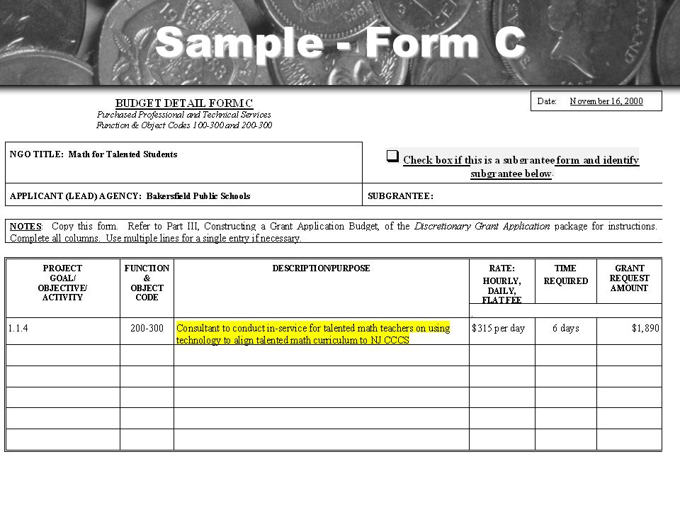Sample - Form C