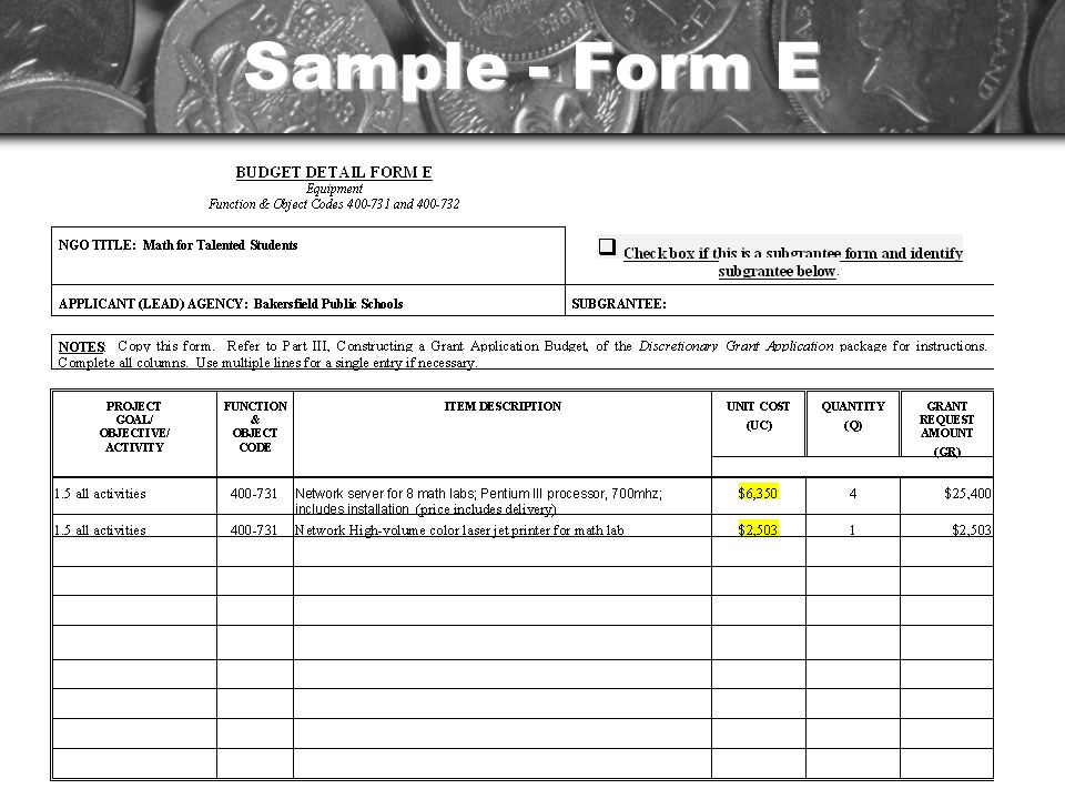 Sample - Form E