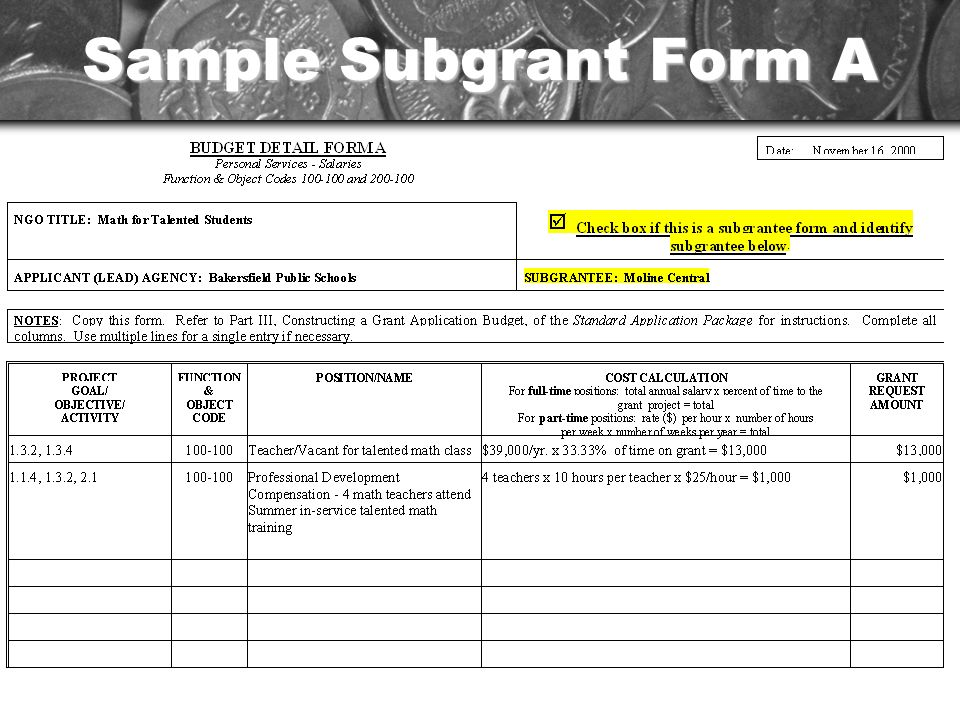 Sample Subgrant Form A