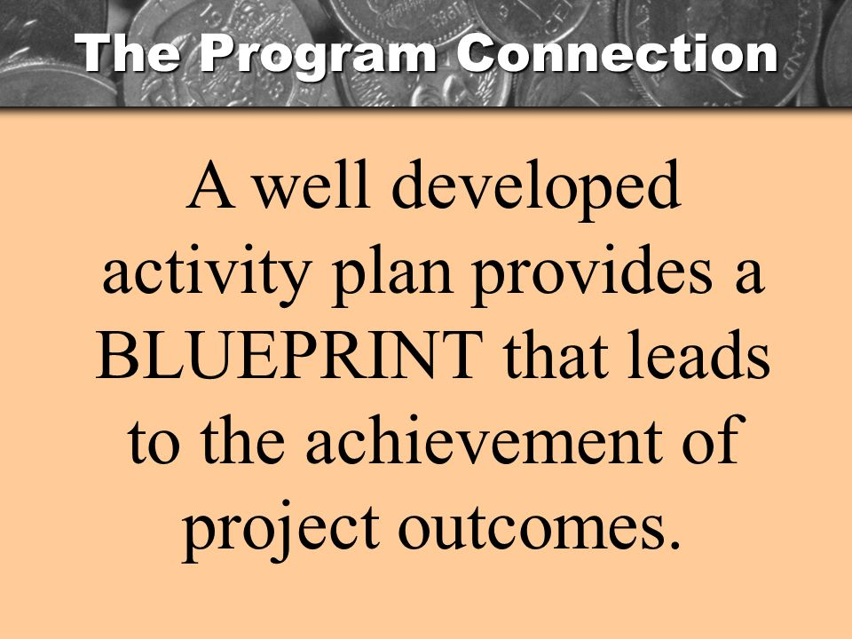 The Program Connection A well developed activity plan provides a BLUEPRINT that leads to the achievement of project outcomes.