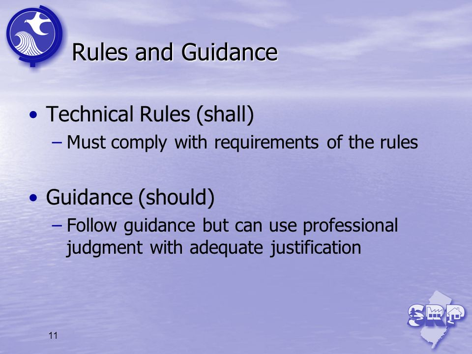 11 Rules and Guidance Technical Rules (shall) –Must comply with requirements of the rules Guidance (should) –Follow guidance but can use professional