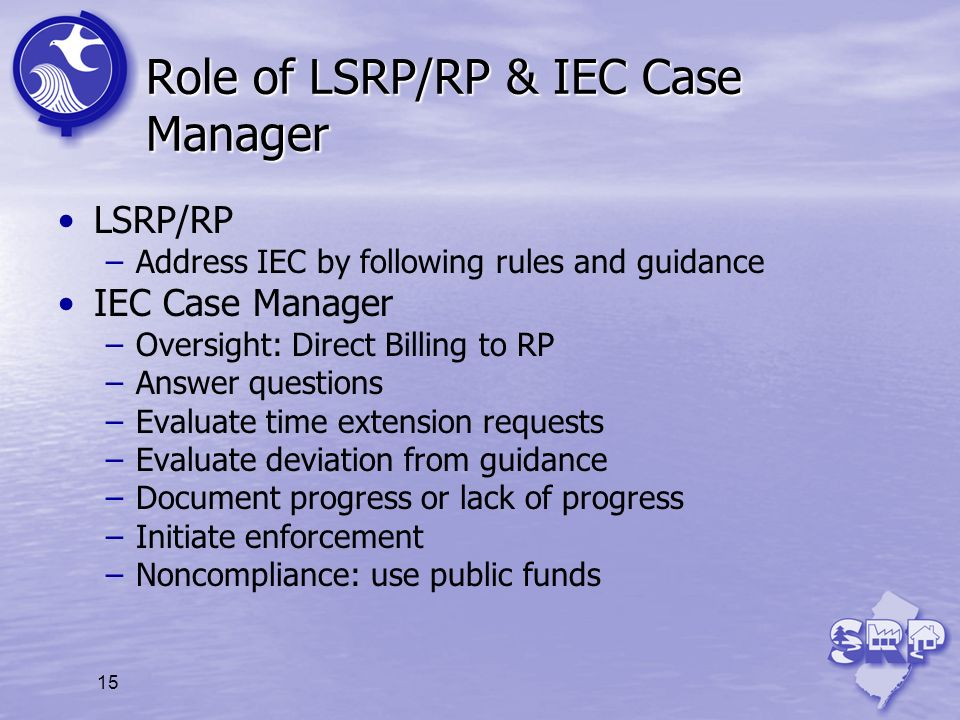 15 Role of LSRP/RP & IEC Case Manager LSRP/RP –Address IEC by following rules and guidance IEC Case Manager –Oversight: Direct Billing to RP –Answer q