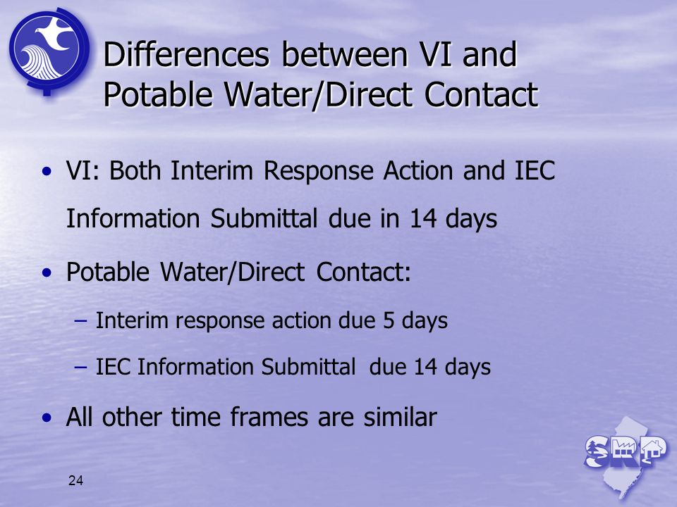 24 Differences between VI and Potable Water/Direct Contact VI: Both Interim Response Action and IEC Information Submittal due in 14 days Potable Water