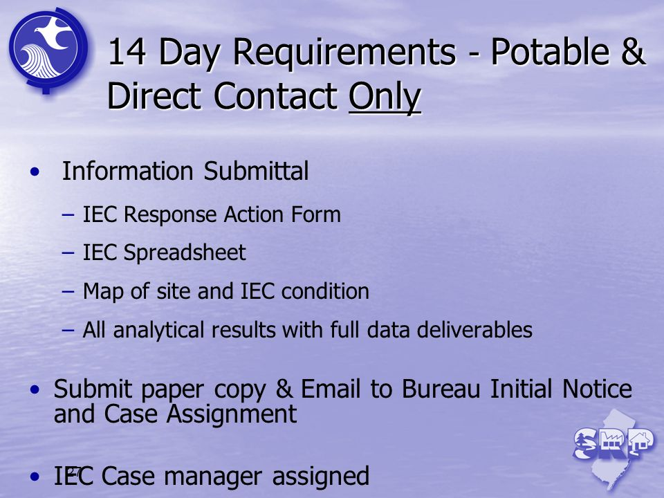 27 14 Day Requirements - Potable & Direct Contact Only Information Submittal –IEC Response Action Form –IEC Spreadsheet –Map of site and IEC condition
