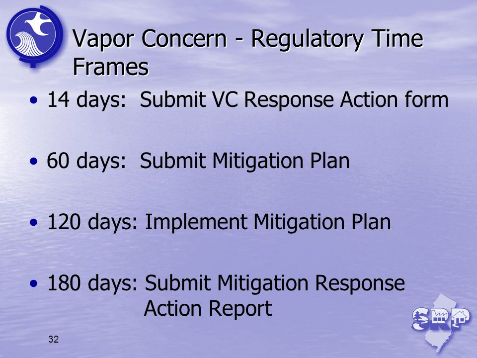 32 Vapor Concern - Regulatory Time Frames 14 days: Submit VC Response Action form 60 days: Submit Mitigation Plan 120 days: Implement Mitigation Plan