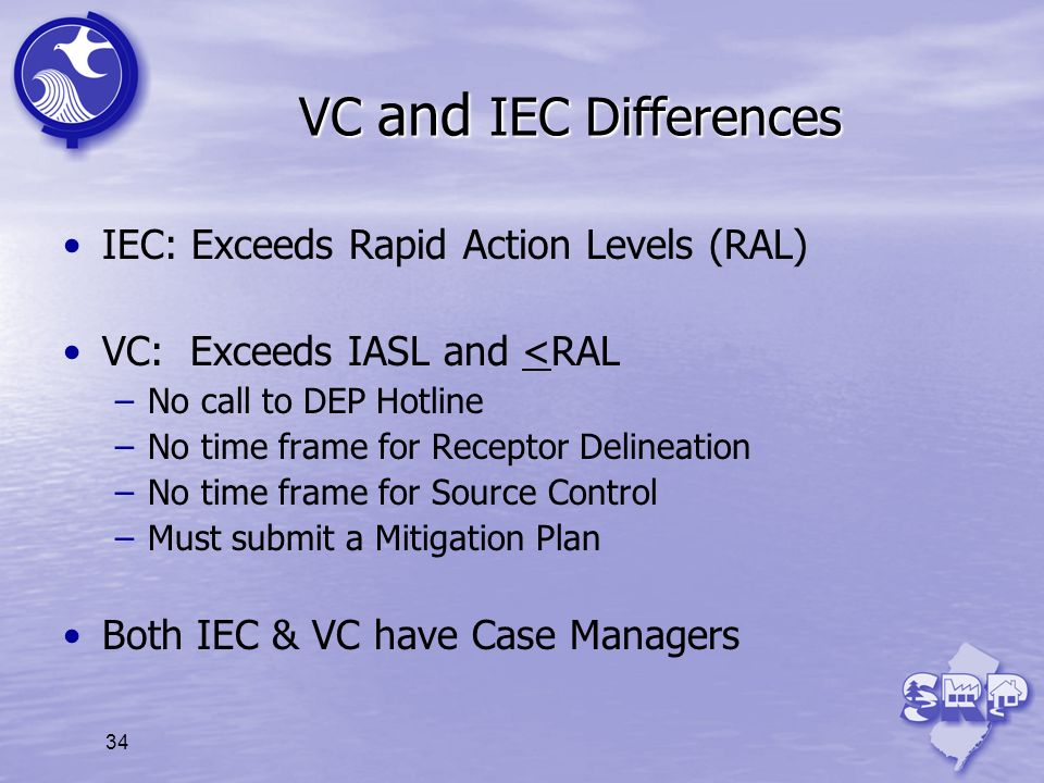 34 VC and IEC Differences IEC: Exceeds Rapid Action Levels (RAL) VC: Exceeds IASL and <RAL –No call to DEP Hotline –No time frame for Receptor Delinea