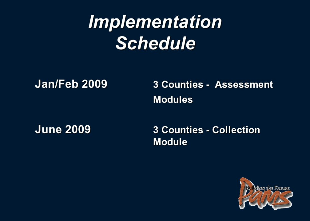 Jan/Feb 2009 3 Counties - Assessment Modules June 2009 3 Counties - Collection Module Implementation Schedule