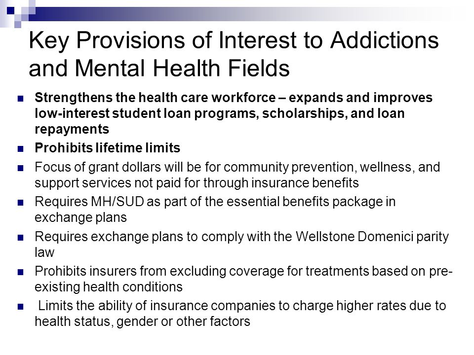 Prevention Permits state or local health departments receiving grant funds through a Department of Health and Human Services (HHS) public health grant program, administered through the Centers for Disease Control and Prevention, to enter into contracts with MH/SUD providers and screening activities may include MH/SUD The new Prevention-Prepared Communities Program (PPC) supplements existing community-based efforts such as SPF-SIG and focuses on youth ages 9-25.