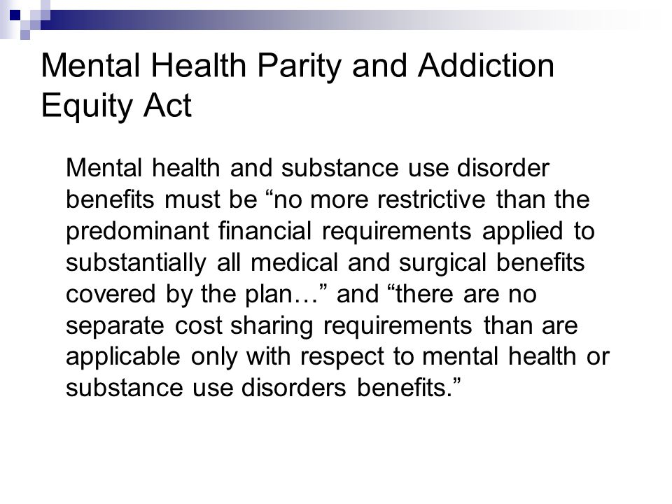Final Points Legislation includes an HHS education and outreach campaign on the benefits of prevention; section contains a requirement that the campaign disseminate information about the preventive work done by the Substance Abuse and Mental Health Services Administration (SAMHSA) As part of the Medicaid State Plan Option Promoting Health Homes for Enrollees with Chronic Conditions program, directs states to consult and coordinate with SAMHSA in addressing prevention & treatment of MH/SUD Includes SAMHSA as an agency in the Interagency Working Group on Health Care Quality